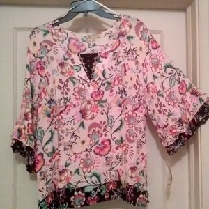 Democracy floral tunic top blouse